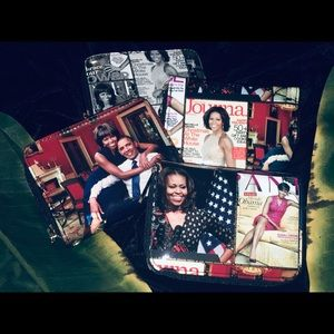 Glossy magazine Michelle Obama collage wallets
